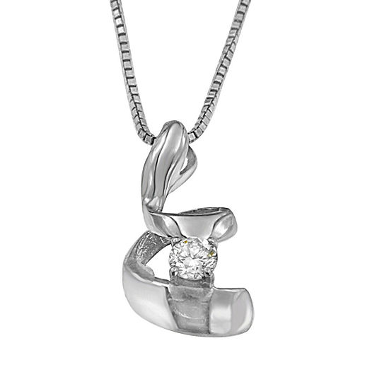 Womens 1 10 Ct Tw Genuine White Diamond 10k White Gold Pendant Necklace