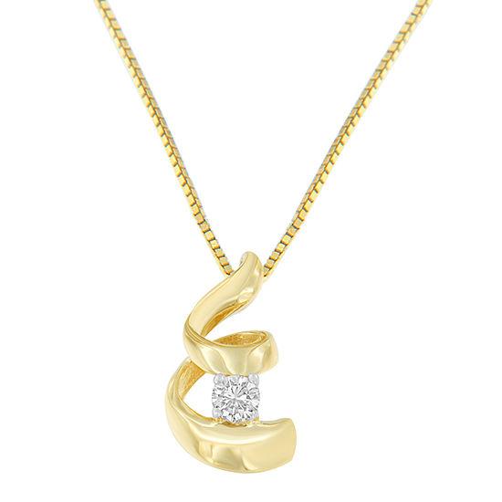 Womens 1 10 Ct Tw Genuine White Diamond 10k Gold Pendant Necklace