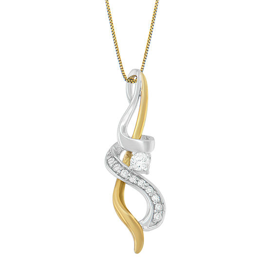 Womens 1/5 CT. T.W. Genuine White Diamond 10K Two Tone Gold Pendant Necklace