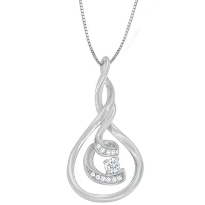 Womens 1/8 CT. T.W. White Diamond 10K White Gold Pendant Necklace
