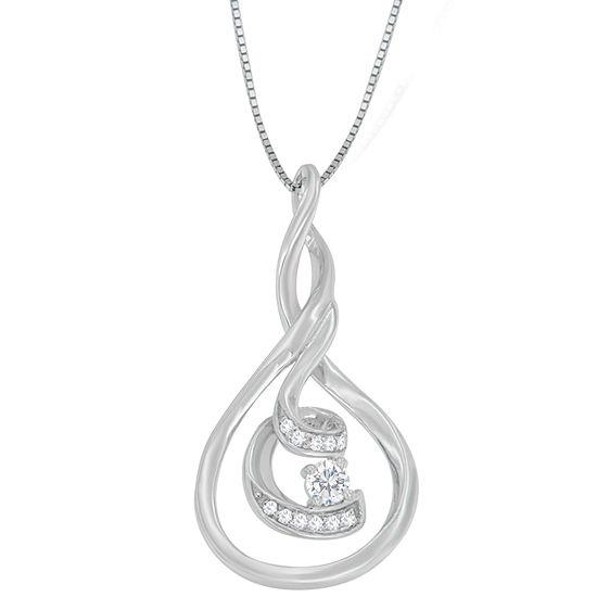 Womens 1/8 CT. T.W. Genuine White Diamond 10K White Gold Pendant Necklace