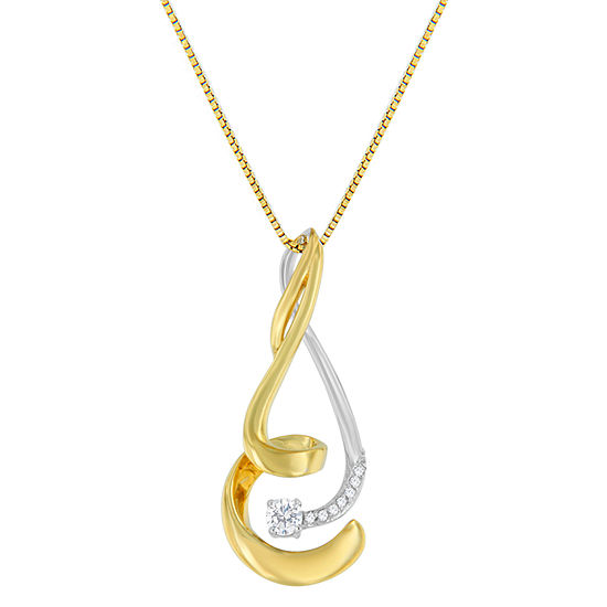 Womens 1 10 Ct Tw Genuine White Diamond 10k Two Tone Gold Pendant Necklace