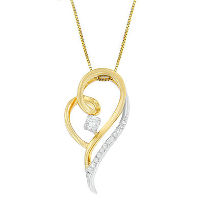 Womens 1/6 CT. T.W. White Diamond 10K Two Tone Gold Heart Pendant Necklace