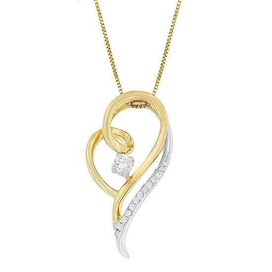 Womens 1 6 Ct Tw Genuine White Diamond 10k Two Tone Gold Heart Pendant Necklace
