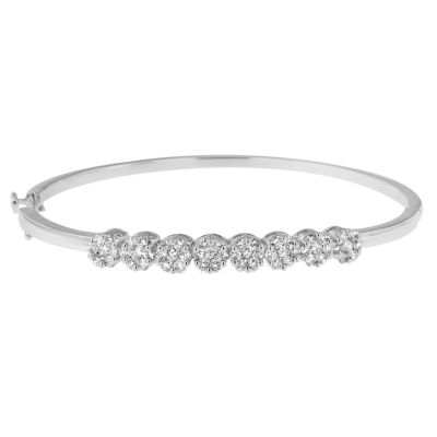 1 3/4 CT. T.W. White Diamond 14K Gold Bangle Bracelet