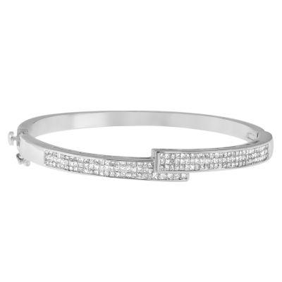 Womens 2 1/4 CT. T.W. White Diamond 14K Gold Bangle Bracelet