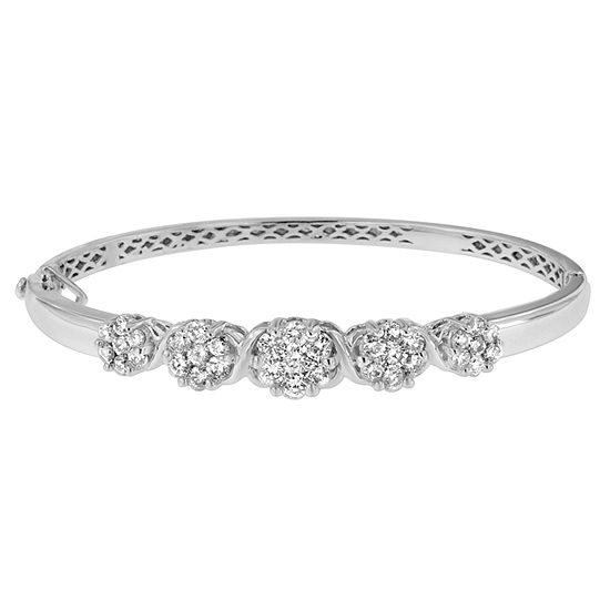 2 1/2 CT. T.W. Genuine White Diamond 14K Gold Bangle Bracelet