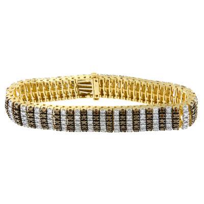 Womens 10 1/3 CT. T.W. White & Champagne Diamond 10K Gold Tennis Bracelet