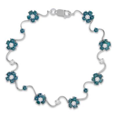 Womens 4 CT. T.W. White & Color Enhanced Blue Diamond 14K Gold Tennis Bracelet