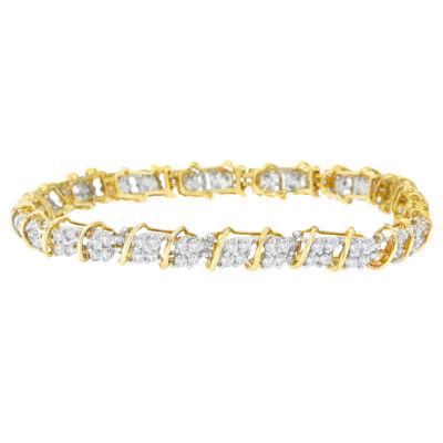 Womens 7 Inch 2 CT. T.W. White Diamond 10K Gold Link Bracelet
