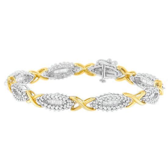 3 Ct Tw Genuine White Diamond 10k Gold 7 Inch Tennis Bracelet