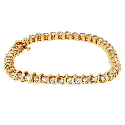 4 CT. T.W. White Diamond 14K Gold 7 Inch Tennis Bracelet