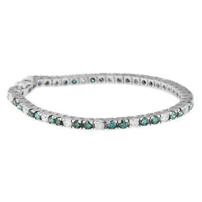 Womens 6 Ct.T.W. White & Color Enhanced Blue Diamond 14K Gold Tennis Bracelet