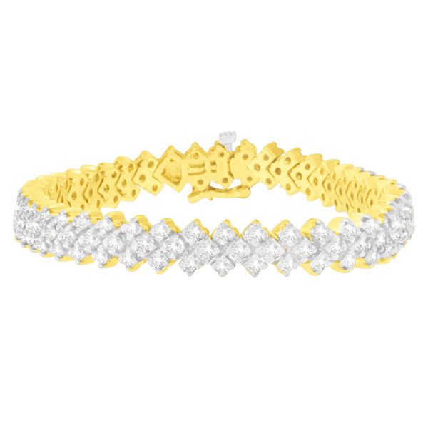 Fine Jewelry Womens 3 CT. T.W. White Diamond 14K Gold Tennis Bracelet 7dUEkyn