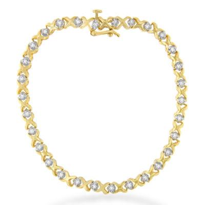 Womens 7 Inch 1/4 CT. T.W. White Diamond 14K Gold Link Bracelet