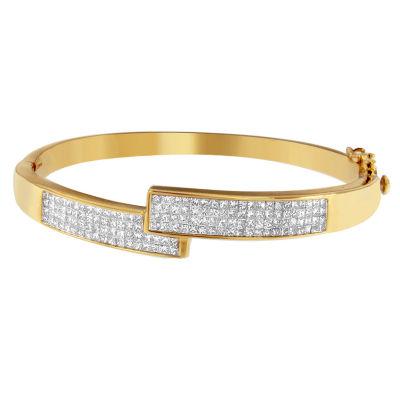3 1/4 CT. T.W. White Diamond 14K Gold Bangle Bracelet