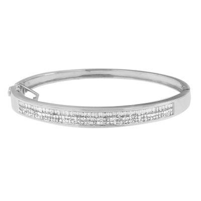 2 1/5 CT. T.W. White Diamond 14K Gold Bangle Bracelet