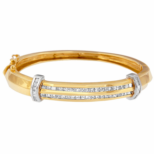 Womens 2 3/4 CT. T.W. White Diamond 14K Gold Bangle Bracelet