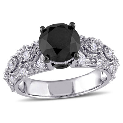 Womens 3 CT. T.W.White &  Color Enhanced Round Black Diamond 10K Gold Engagement Ring