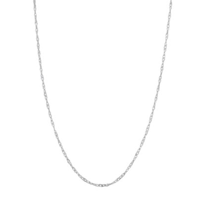 10K White Gold Solid Singapore 16 Inch Chain Necklace