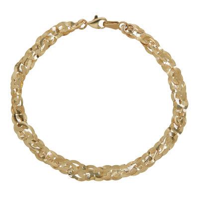 10K Gold 7.5 Inch Solid Link Chain Bracelet