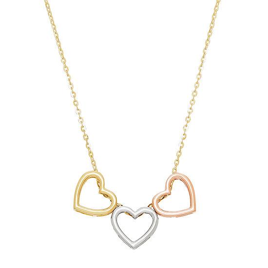 Infinite Gold Womens 14K Gold Heart Pendant Necklace