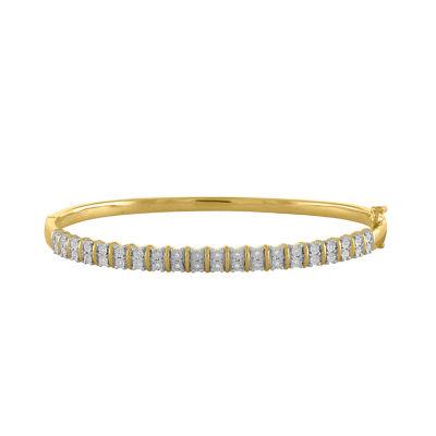 Womens 1/10 CT. T.W. White Diamond Gold Over Silver Bangle Bracelet