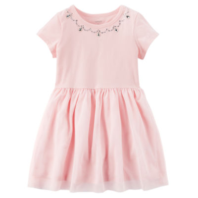 Carter's Embellished Short Sleeve Flutter Sleeve A-Line Dress - Toddler Girls
