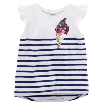 Carter's Sequin Detail Ruffle Sleeve Top - Toddler Girls NB-24M