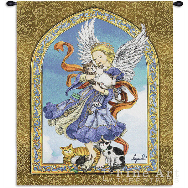 Angel and Cats Wall Tapestry