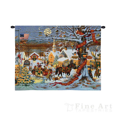 Small Town Christmas Wall Tapestry