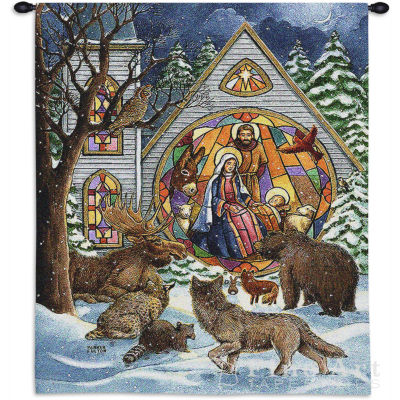 Snowfall Nativity Wall Tapestry