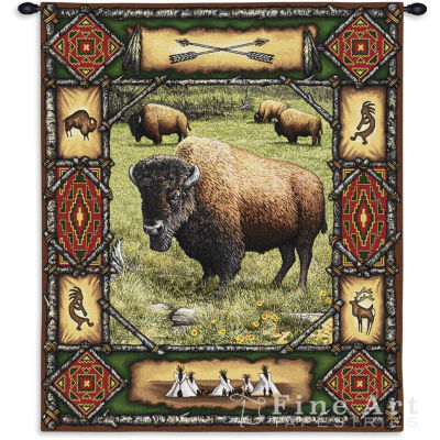 Buffalo Lodge Wall Tapestry