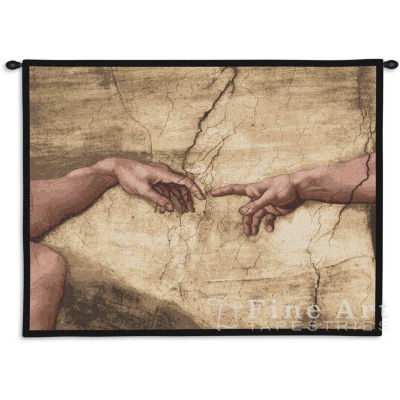 Creation Adam Wall Without Words Tapestry