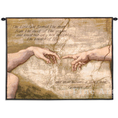 Creation of Adam With Words Wall Tapestry