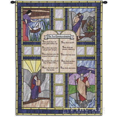 Ten Commandments Stained Glass Wall Tapestry