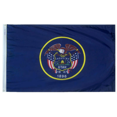 Utah State Flag 3x5 ft. Nylon SolarGuard Nyl-Glo 100% Made in USA to Official State Design Specifications by Annin Flagmakers.  Model 145360