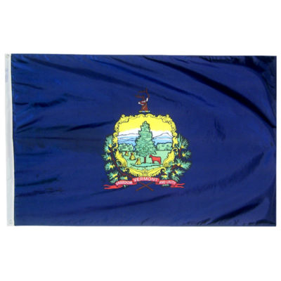 Vermont State Flag 3x5 ft. Nylon SolarGuard Nyl-Glo 100% Made in USA to Official State Design Specifications by Annin Flagmakers.  Model 145460