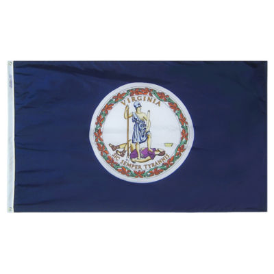 Virginia State Flag 3x5 ft. Nylon SolarGuard Nyl-Glo 100% Made in USA to Official State Design Specifications by Annin Flagmakers.  Model 145660