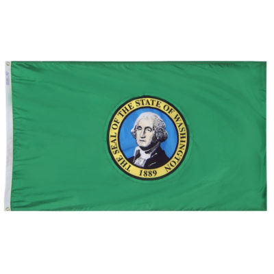Washington State Flag 5x8 ft. Nylon SolarGuard Nyl-Glo 100% Made in USA to Official State Design Specifications by Annin Flagmakers.  Model 145780