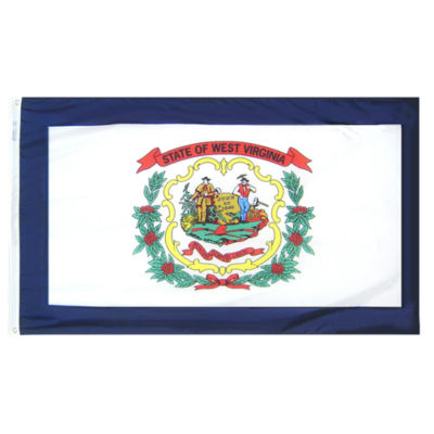 West Virginia State Flag 5x8 ft. Nylon SolarGuardNyl-Glo 100% Made in USA to Official State DesignSpecifications by Annin Flagmakers.  Model 145880