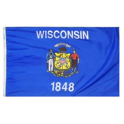 Wisconsin State Flag 5x8 ft. Nylon SolarGuard Nyl-Glo 100% Made in USA to Official State Design Specifications by Annin Flagmakers.  Model 145980