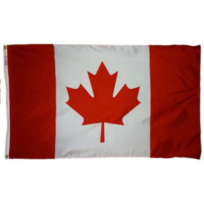 Canada Flag 6x10 ft. Nylon SolarGuard Nyl-Glo 100%Made in USA to Official United Nations Design Specifications by Annin Flagmakers. Model 191342