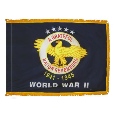 WWII Commemorative Flag 3x4 ft. Pole Sleeve and Gold Fringe by Annin Flagmakers Model 438810