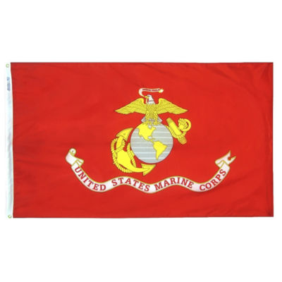 U.S. Marine Corps Military Flag 2x3 ft. Nylon SolarGuard Nyl-Glo 100% Made in USA to Official Specifications. Annin Flagmakers is an Officially Licensed Manufacturer. Model 439004