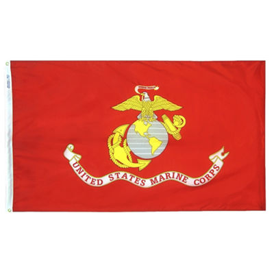 U.S. Marine Corps Military Flag 4x6 ft. Nylon SolarGuard Nyl-Glo 100% Made in USA to Official Specifications. Annin Flagmakers is an Officially Licensed Manufacturer. Model 439007