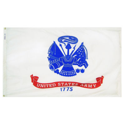 U.S. Army Military Flag 12x18 in. Nylon SolarGuardNyl-Glo 100% Made in USA to Official Specifications. Annin Flagmakers is an Officially Licensed Manufacturer. Model 439022