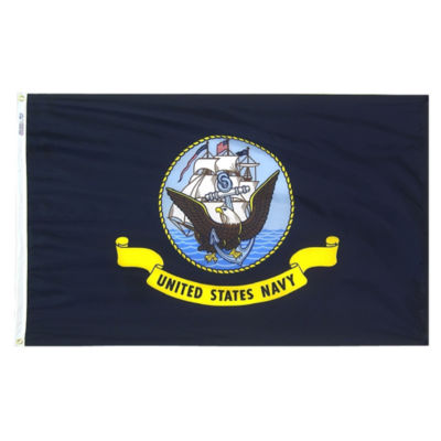 U.S. Navy Military Flag 12x18 in. Nylon SolarGuardNyl-Glo 100% Made in USA to Official Specifications. Annin Flagmakers is an Officially Licensed Manufacturer. Model 439024