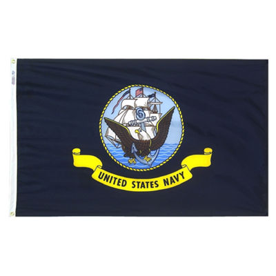 U.S. Navy Military Flag 3x5 ft. Nylon SolarGuard Nyl-Glo 100% Made in USA to Official Specifications. Annin Flagmakers is an Officially Licensed Manufacturer. Model 439030