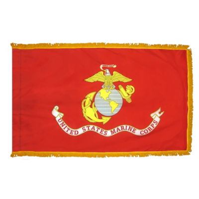 U.S. Marine Corps Military Flag 3x5 ft. Pole Sleeve and Gold Fringe 100% Made in USA to Official Specifications. Annin Flagmakers is an Officially Licensed Manufacturer. Model 439105